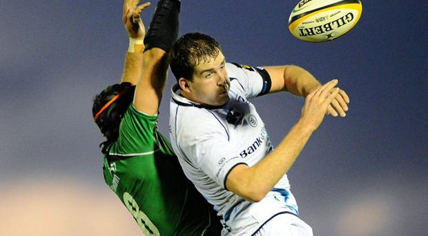 Leinster's Devin Toner in action against Connacht's John Muldoon during a lineout at the Sportsground yesterday