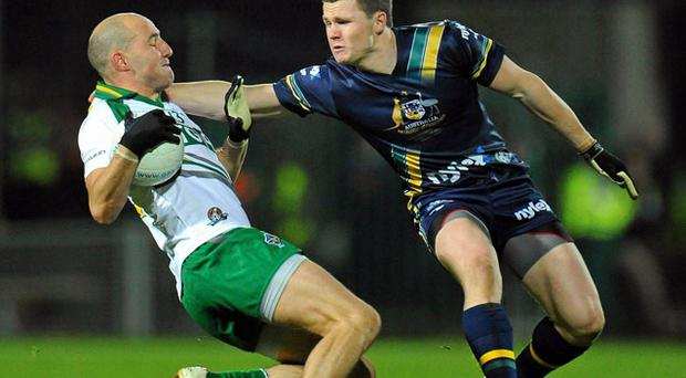 Tadgh Kennelly finds his way blocked by Matthew Boyd at the Limerick Gaelic Grounds. ALAN PLACE / SPORTSFILE