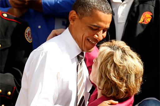 President Barack Obama greeting Democratic senator Barbara Boxer at a campaign rally in Los Angeles, California, during a four-day, five-state mission to gather support for Democrats in the upcoming election