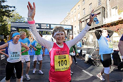 74-year-old Catherine 'Kay' O'Regan ran yesterday's Dublin Marathon in an impressive four hours and 25 minutes