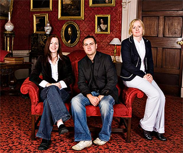 Socialist Party councillors Clare Daly, Matthew Waine and Ruth Coppinger pose for an official photograph in Newbridge House, Co Dublin