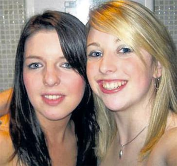 Kelly Gregan, left, with her best friend Gillian Fitzgerald who was also knocked down in the fatal collision