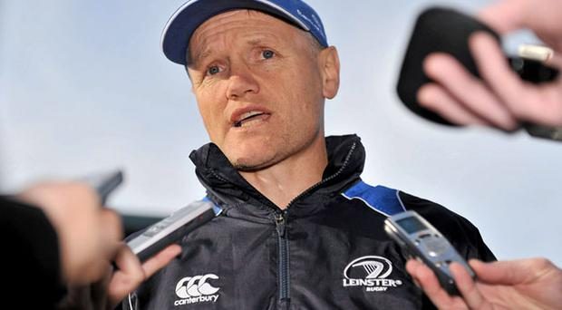 Leinster head coach Joe Schmidt speaking to the media yesterday ahead of their Magners League game against Edinburgh on Saturday. Photo: Barry Cregg / Sportsfile