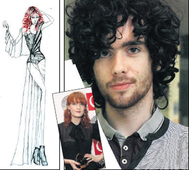 Donegal student Oliver Doherty, one of six finalists in a competition to design a dress for singer Florence Welch (inset, at the Q awards in London yesterday). Left: Oliver's design. PA
