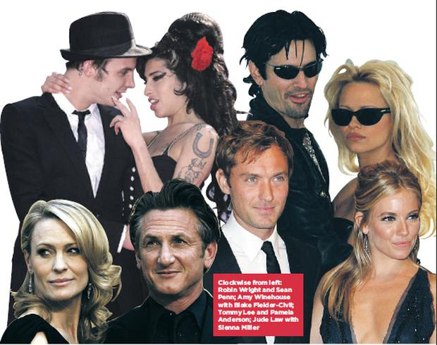 Clockwise from left: Robin Wright and Sean Penn; Amy Winehouse with Blake Fielder-Civil; Tommy Lee and Pamela Anderson; Jude Law with Sienna Miller