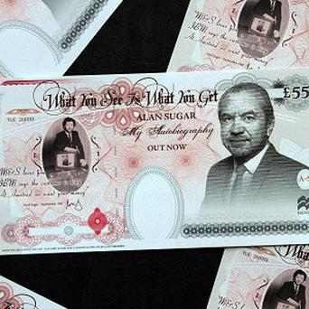 A 'Bank of Sugar' note to promote Lord Sugar's autobiography