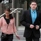 Owen Gaffney leaving Dublin Circuit Court yesterday with his mother Fidelma