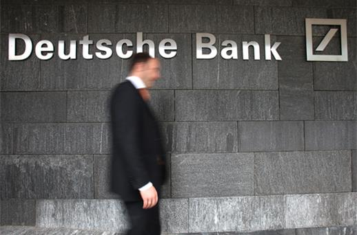 Deutsche Bank rose as much as 2pc in Frankfurt trading after reporting a net loss of €1.21bn. Photo: Bloomberg News