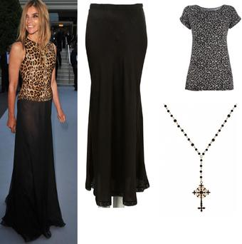 Long black skirt Topshop €45; Leopard print t-shirt Warehouse €28;Necklace H&M €9
