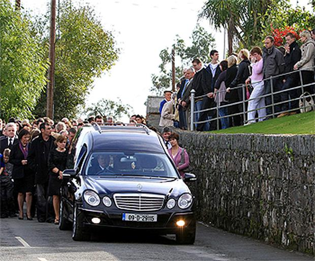 Mourners throng Tara Hill, Co Wexford, to pay their respects to Kelly Gregan who was the victim of a hit and run