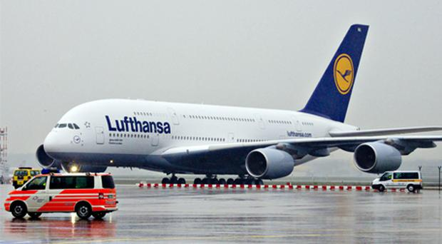 A Lufthansa Airbus A380 airplane taxis after its arrival in Frankfurt. Photo: Bloomberg News