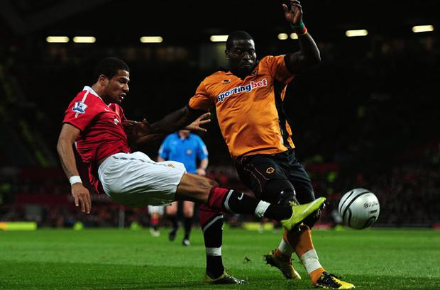 Manchester United's Bébé (left) scored Manchester United's opening goal against Wolves in the Carling Cup. Photo: Getty Images