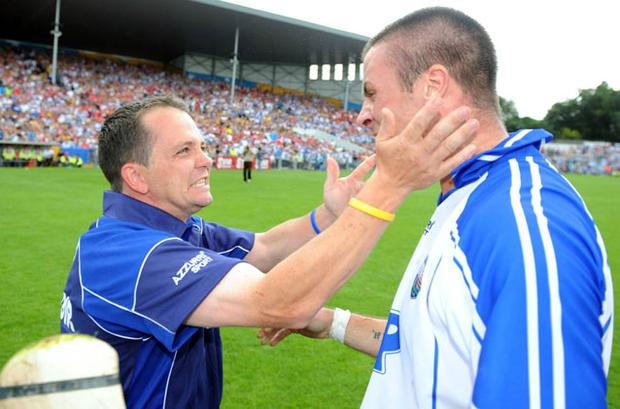 Davy Fitzgerald congratulates Dan Shanahan after Waterford's victory over Wexford in the 2008 All-Ireland SHC.