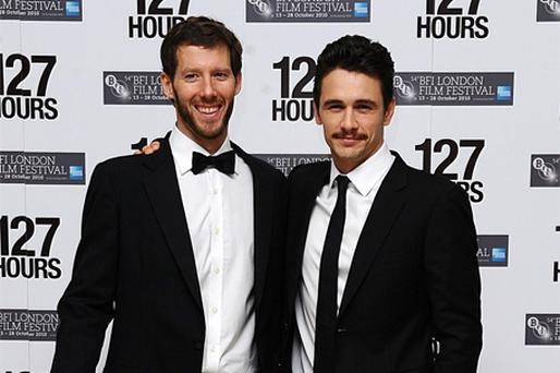 Climber Aron Ralston (left) and James Franco, who plays him in the film, arrive for '127 Hours' premiere