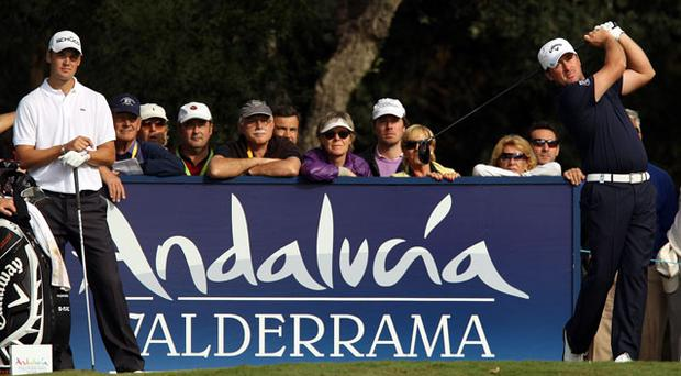 Graeme McDowell plays a shot during the first round of the Volvo Masters in Sotogrande yesterday. Photo: Getty Images
