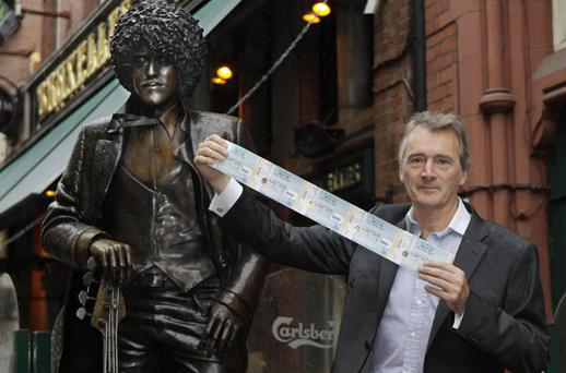 Lord Henry Mountcharles launches the line up for Slane 2011 next to the Phil Lynott statue in Dublin. Photo: PA