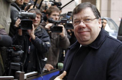 Brian Cowen arrives at the summit in Brussels yesterday. Photo Reuters