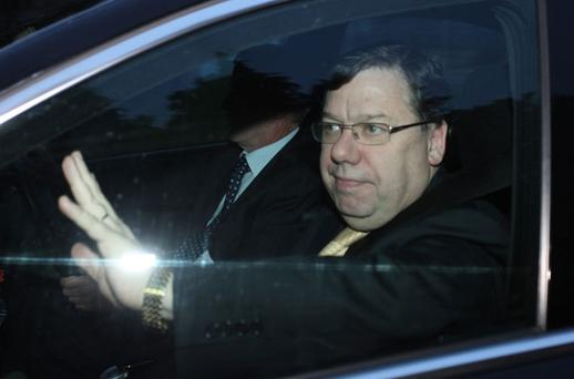 Brian Cowen arrives for a cabinet meeting at Farmleigh House in his Mercedes earlier this week. GARETH CHANEY COLLINS