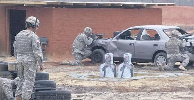 TARGET PRACTICE: Unoccupied developments could be used as soldier training courses similar to this US one, which comes complete with pop-up insurgents