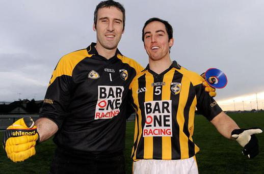 Paul Hearty, left, and Aaron Kernan of Crossmaglen Rangers. Photo: Paul Mohan / Sportsfile