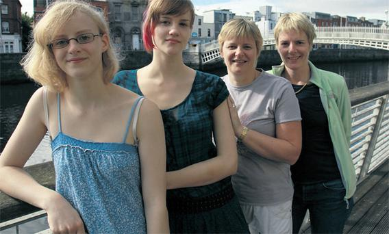 From left, Daire and Clare O'Connell with their mum Grainne Courtney and her partner Orla Howard