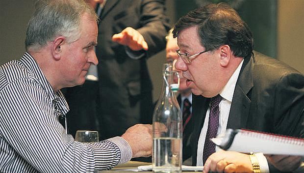 Shannonbridge dairy farmer Eamonn McManus, left, a constituent of Brian Cowen, caused quite a stir when he challenged the Taoiseach at last Friday's ICMSA annual general meeting