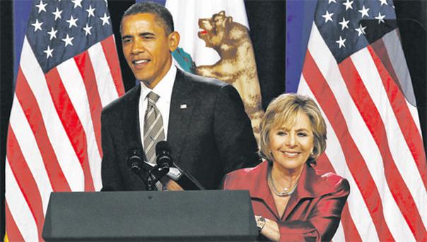 President Obama on the campaign trail with Senator Barbara Boxer in Los Angeles