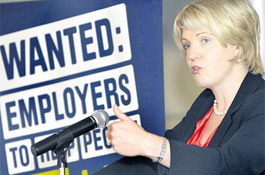 Tanaiste Mary Coughlan at the launch of the 'Job Fit' training programme for unemployed under-35s in Dublin yesterday