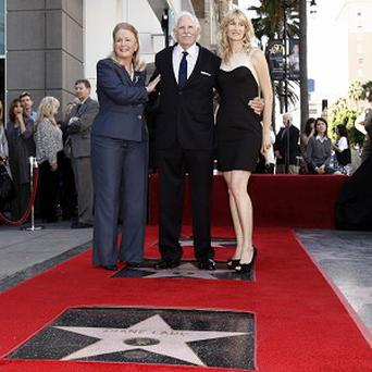 Actress Diane Ladd, left, actor Bruce Dern, and actress Laura Dern received stars on the Hollywood Walk of Fame (AP)