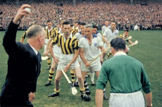 Throw-in at the 1959 All-Ireland hurling final between Kilkenny and Waterford. Footage of this match and every other final from 1948 to 1958 can be seen on the DVD
