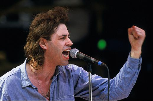 Bob Geldof performs on stage during the Live Aid concert at Wembley Stadium on 13 July, 1985 in London, England. Photo: Getty Images