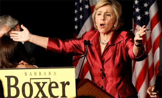 Democrat Senator Barbara Boxer delivers her victory speech in her race against Republican opponent Carly Fiorina, who finally conceded in California
