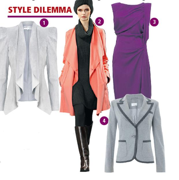 1 Suede leather waterfall jacket €175 M&S 2 Orange waterfall cardigan, €335 by Marc Cain, Arnotts, Henry St, D2 3 Purple silk draped dress, €360, by DVF, Brown Thomas, Grafton St, D2 4 'Preppy Blazer' €286.11 by Elégance available in sizes 10-22 www.elegance.co.uk