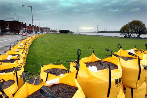 Sandbags at Clontarf placed in anticipation of the Hurricane force winds that are predicted for the weekend. Photo: Colin O'Riordan