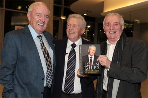 John Giles with Bill O'Herlihy and Eamon Dunphy at the launch of his autobiography 'A Football Man' last night