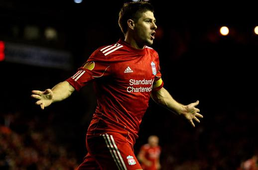 Steven Gerrard scored a hat-trick against Napoli. Photo: Getty Images