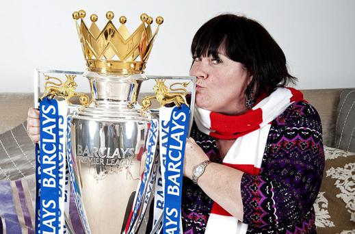 'X Factor' contestant Mary Byrne pictured with the Barclay's Premiership trophy in the build-up to this weekend's performance. ALAN WALTER