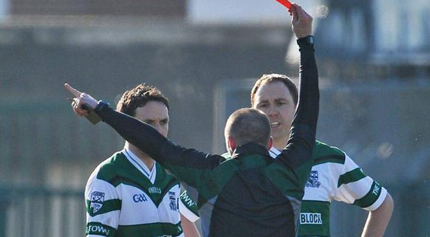 Portlaoise's Brian Mulligan is sent off in last year's semi-final. Photo: Sportsfile