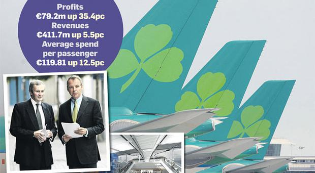 Aer Lingus chief financial officer Andrew McParland with chief executive Christoph Mueller