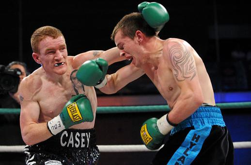 Willie Casey exchanges punches with Paul Hyland during the first round of their European Super Bantamweight title bout at the UL Arena, Limerick. Photo: Diarmuid Greene / Sportsfile