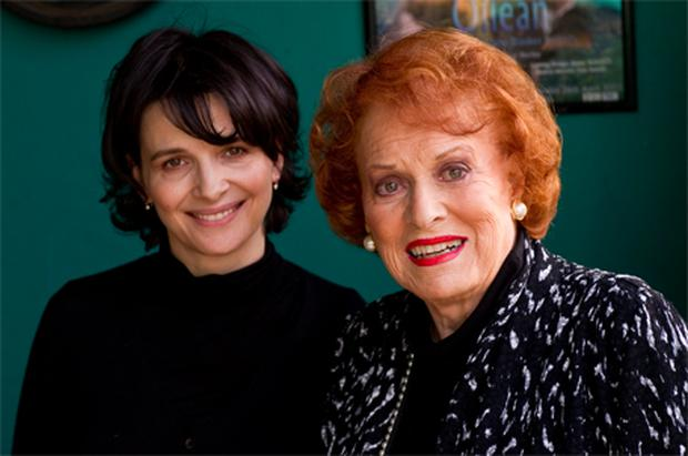 Oscar winning French actress Juliette Binoche with 90-year-old Hollywood screen legend Maureen O'Hara in Tralee, Co Kerry, at the weekend
