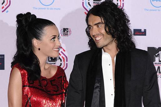 Newlyweds Katy Perry and Russell Brand arriving at the MTV Europe Music Awards 2010 in Madrid yesterday. Photo: AP