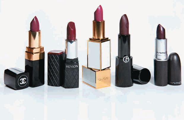 Pictured, from left: Chanel Rouge Coco in Ballet Russe; Revlon ColorBurst Lipstick in Plum; Tom Ford Private Blend Lip Colour in Moroccan Rouge; Giorgio Armani Rouge D'Armani Lipstick in 604; Mac lipstick in Black Current