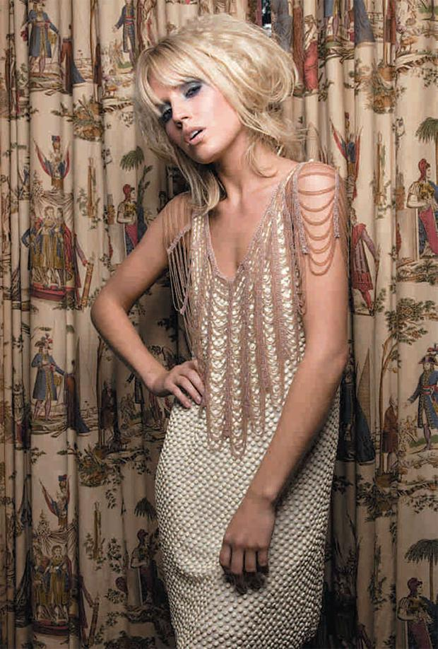 Embellished dress, €99, Warehouse. Beaded wrap (draped on shouolders), €58, Coast