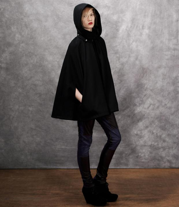 Hooded Cape €84 ,Leather Trousers €60.50, Wedge Lace boots €103 from Asos.com
