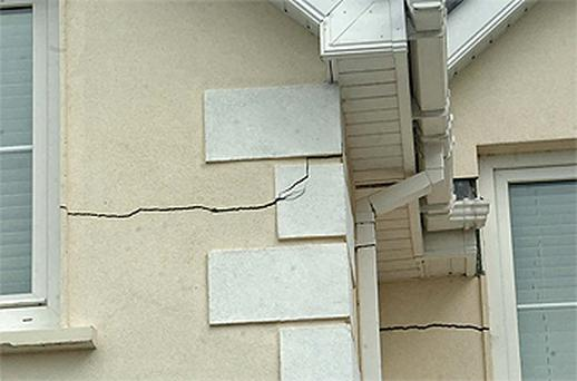Damage in a house caused by pyrite