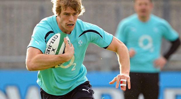 Andrew Trimble has been rewarded for his fine form at Ulster with a place on the wing for Ireland's clash against Samoa on Saturday. Photo: Brendan Moran / Sportsfile