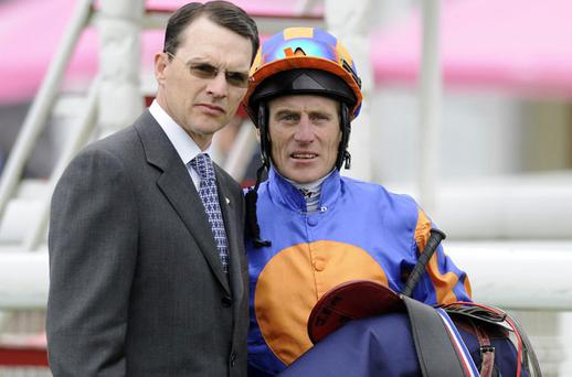 Aidan O'Brien and Johnny Murtagh discussing tactics in happier times - the next Ballydoyle No 1 has a tough act to follow. Photo: PA