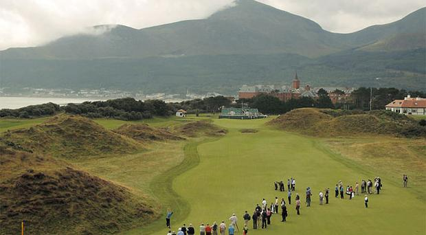 A general view of Royal Co Down golf club which has been voted the best course in Ireland according to Golf Digest's Top 100.