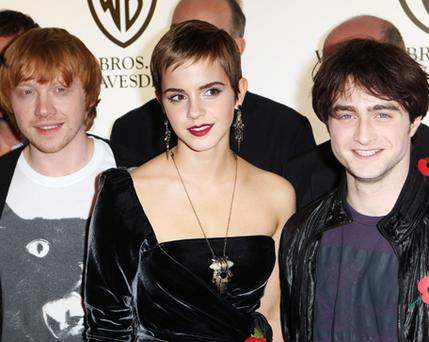 Rupert Grint, Emma Watson and Daniel Radcliffe attend the premiere. Photo: Getty Images
